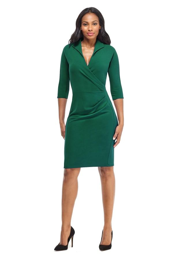 Scuba Crepe V-Neck Sheath Dress - Emerald - Front