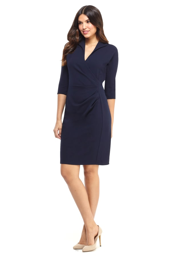 Scuba Crepe V-Neck Sheath Dress - Navy - Front