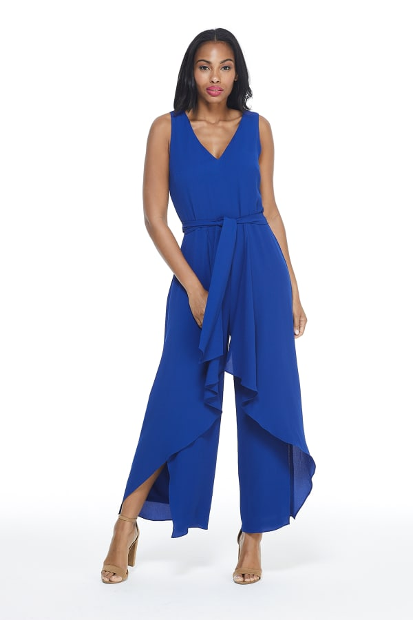 Ruffle V-Neck Jumpsuit - Royal - Front