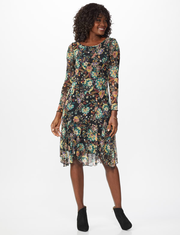 New Floral  Midi Dress - Teal - Front