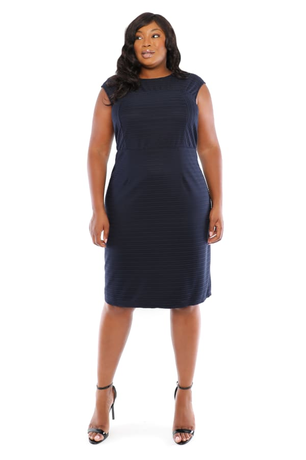 Textured Sheath Dress - Plus - Navy - Front
