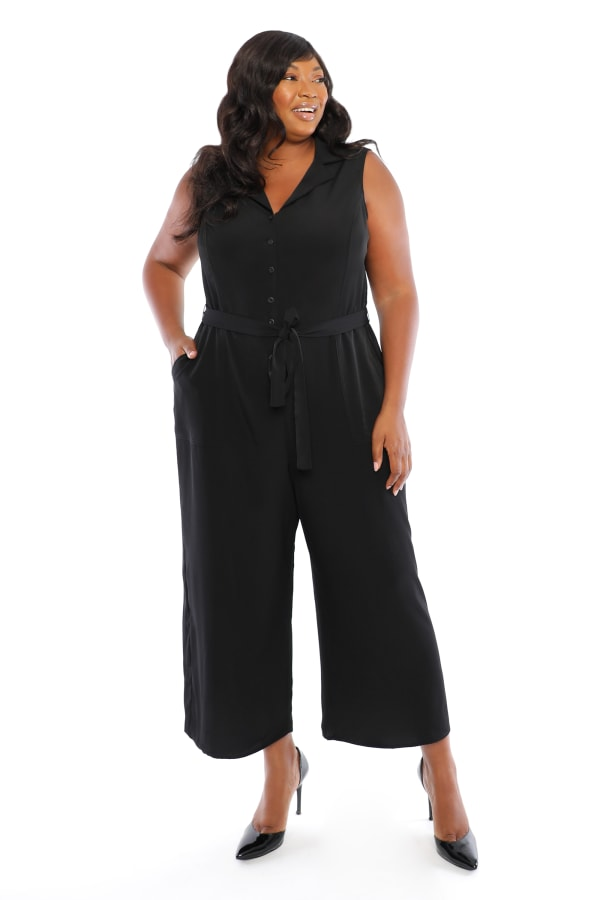 Notch Lapel Cropped Crepe Jumpsuit - Plus - Black - Front