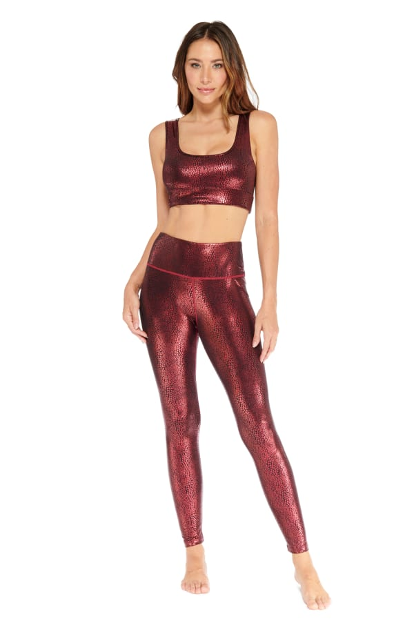 High Rise Glossy Crocodile Legging - Wine - Front