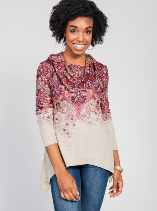 Border Print Cowl Neck Sharkbite Knit Top - Orange - Front