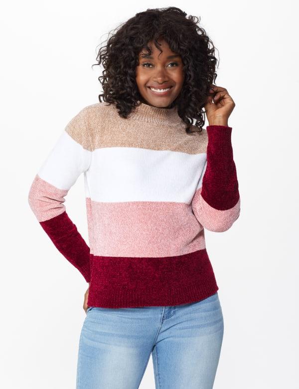 Roz & Ali Chenile Colorblock Pullover Sweater - Mauve Combo - Front