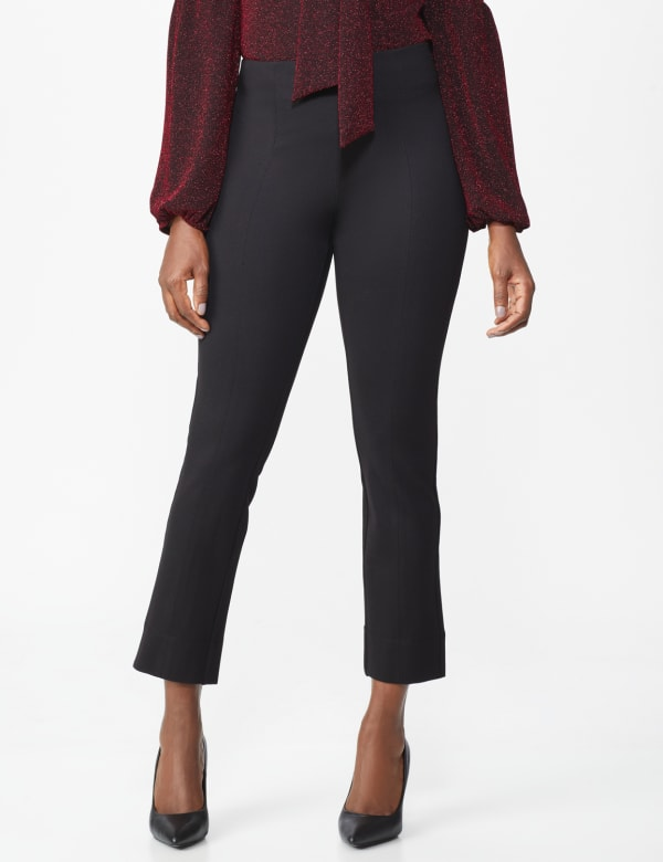 Ponte Pull On  Ankle Pant - Black - Front