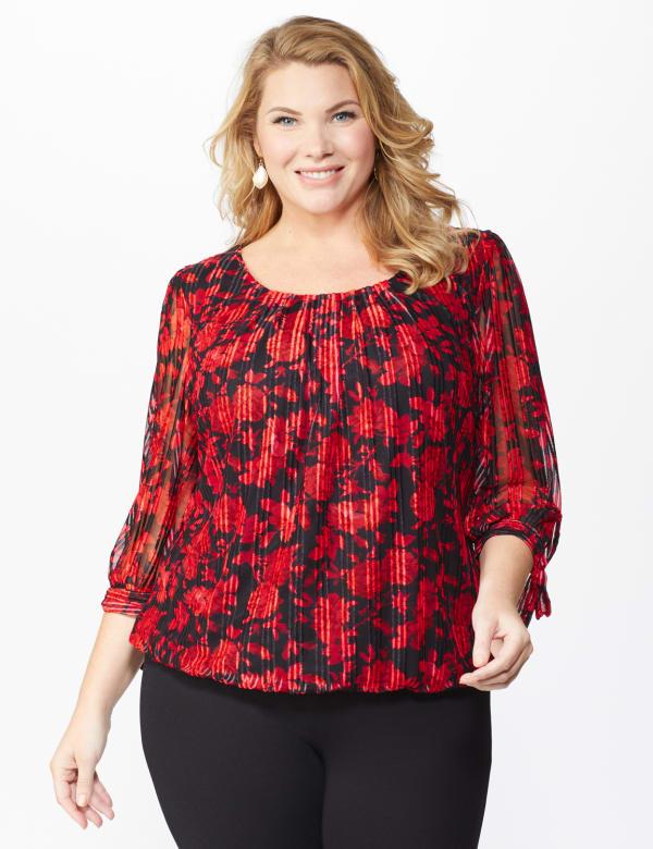Roz & Ali Red Floral Tie Sleeve Bubble Hem Blouse - Plus