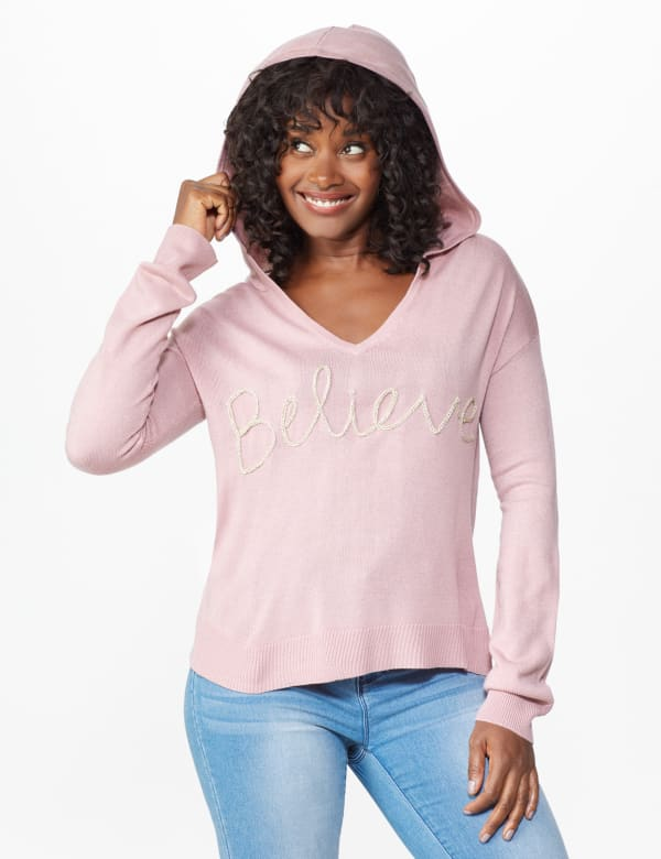 Roz & Ali Believe Hoodie Sweater - Misses - Dusty Pink - Front