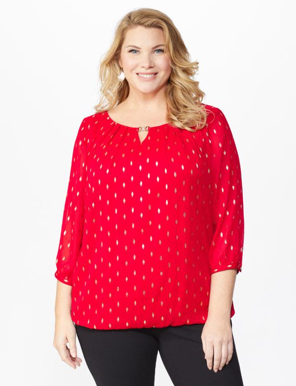 Roz & Ali Red Foil Bubble Hem Blouse - Plus - Red - Front