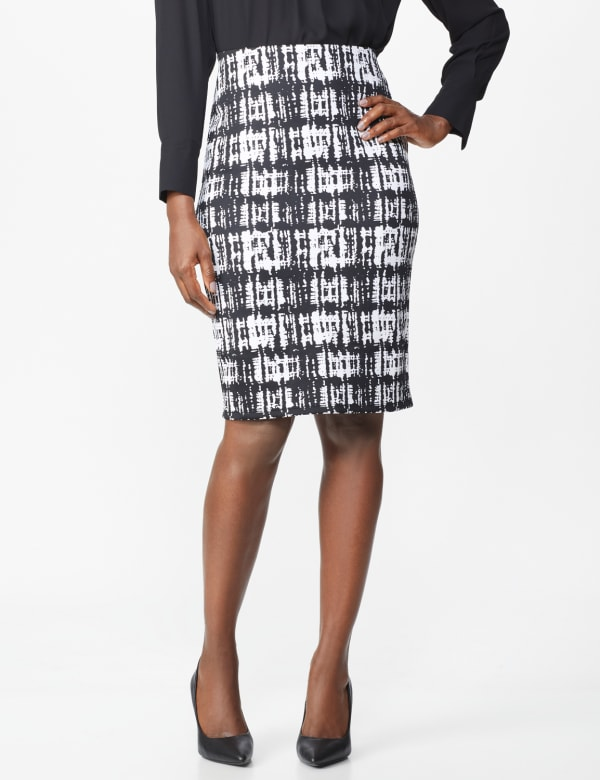 Printed Scuba Crepe Pencil Skirt - Black/Sugar Swizzle - Front
