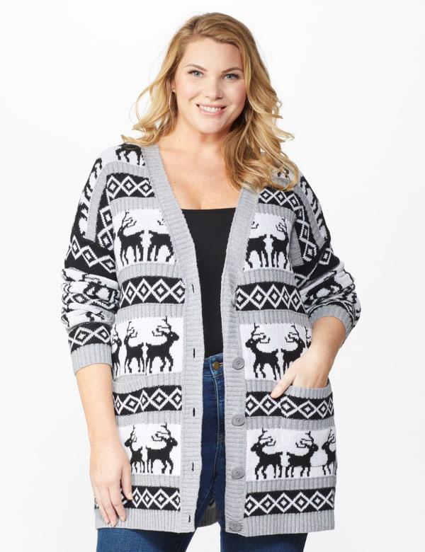 Westport Fair Isle Reindeer Duster Cardigan - Plus - Grey/White/Black - Front