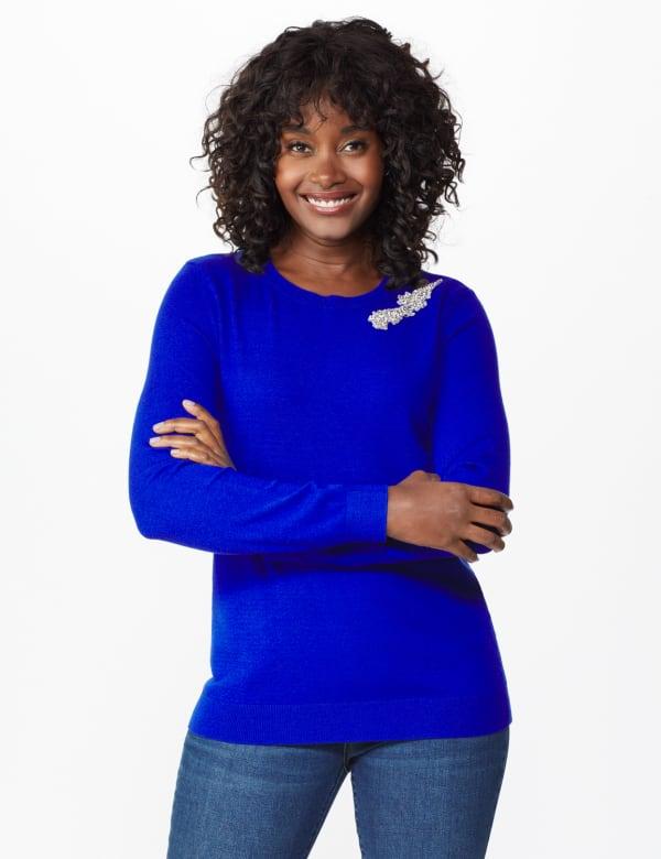 Roz & Ali Rhinestone Pullover Sweater - Royal - Front
