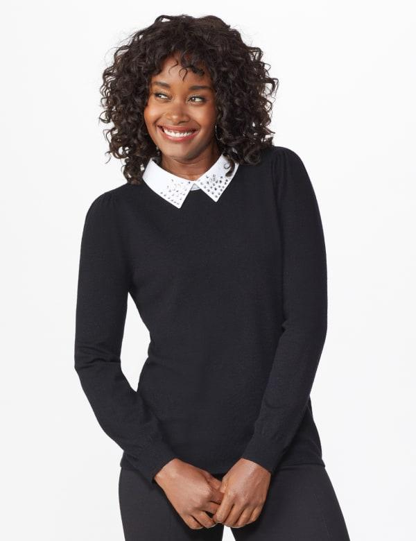 Roz & Ali Embellished Sparkle Collar Sweater - Black - Front
