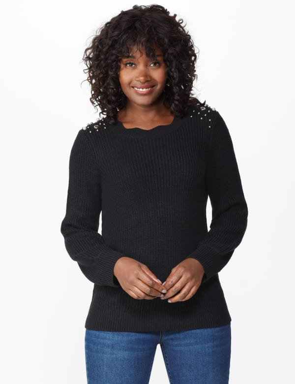 Westport Scallop Neck Jewel Pullover - Black - Front