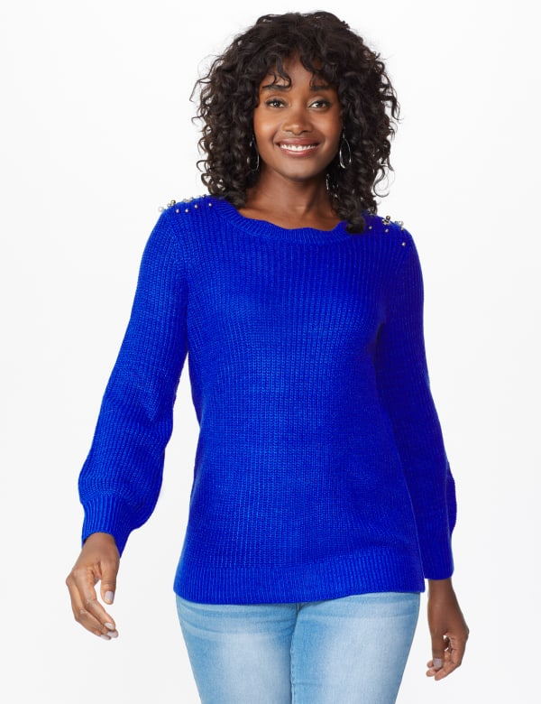 Westport Scallop Neck Jewel Pullover - Royal - Front