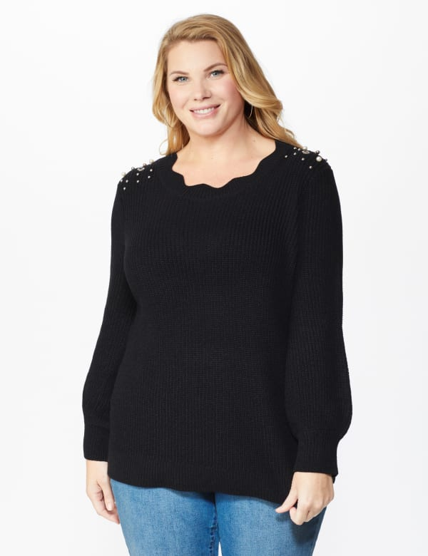 Westport Scallop Neck Jewel Pullover  - Plus - Black - Front