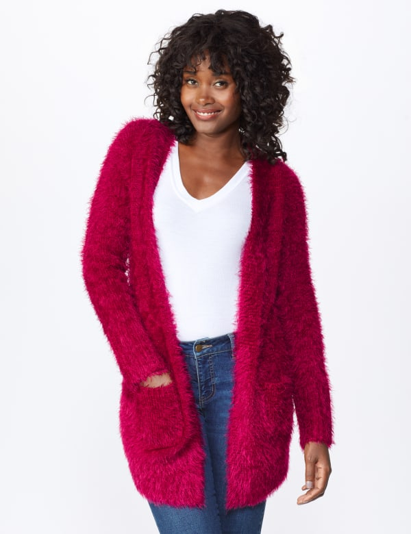 Westport Eyelash Duster Cardigan - Wine - Front