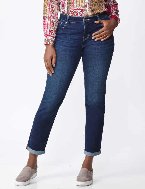 Westport Girlfriend/Boyfriend 5 Pocket Jean with Double Rolled Cuff - Dark Wash - Front