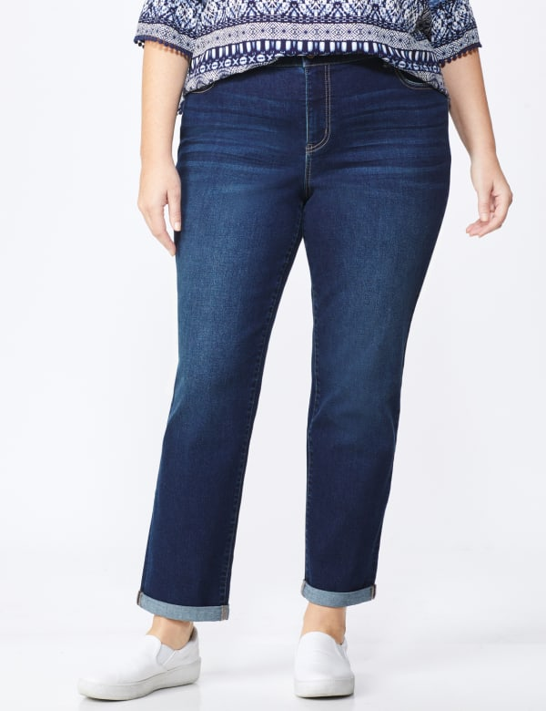 Plus Westport Signature Girlfriend/Boyfriend 5 Pocket Jean with Double Rolled Cuff - Plus - Dark Wash - Front