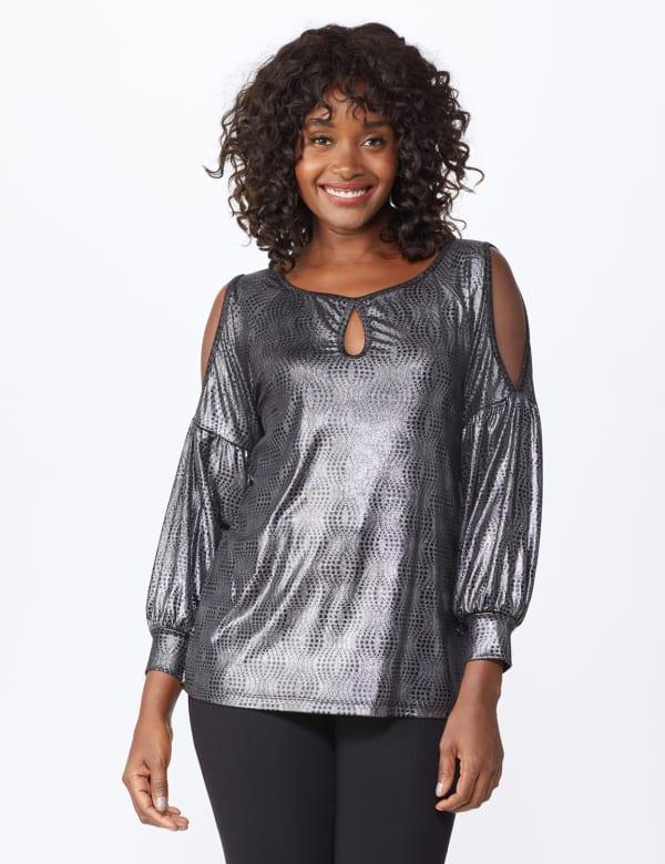 Roz & Ali Cold Shoulder Metallic Knit Top - Misses - Silver/Black - Front