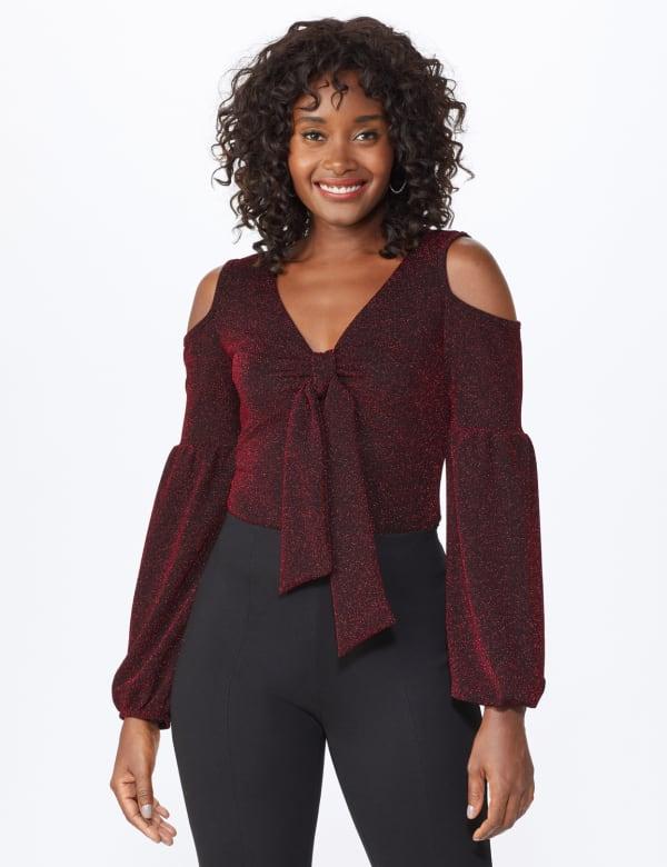 Roz & Ali Sparkle Knot Center Knit Top - Misses - Red/Black - Front