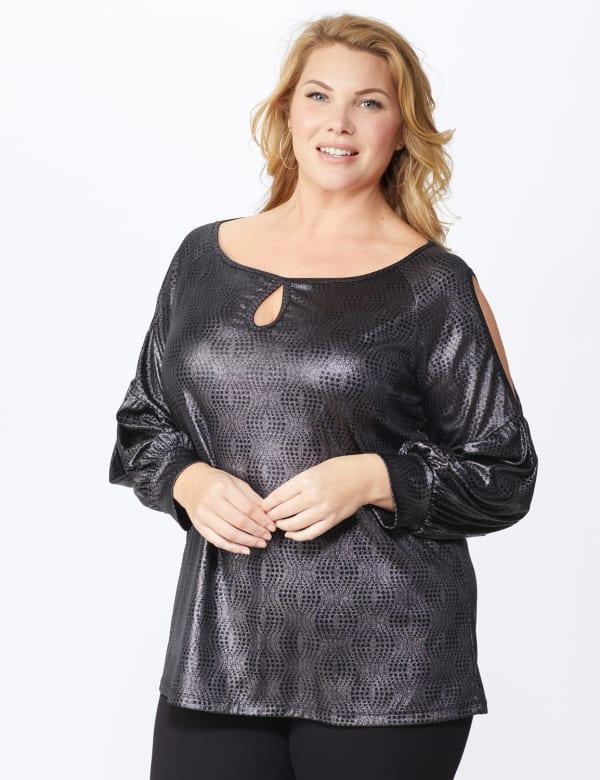 Roz & Ali Cold Shoulder Metallic Knit Top - Plus - Silver/Black - Front