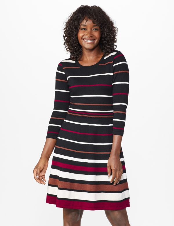 Stripe Fit and Flare Sweater Dress - Black/Ivory/Wine - Front