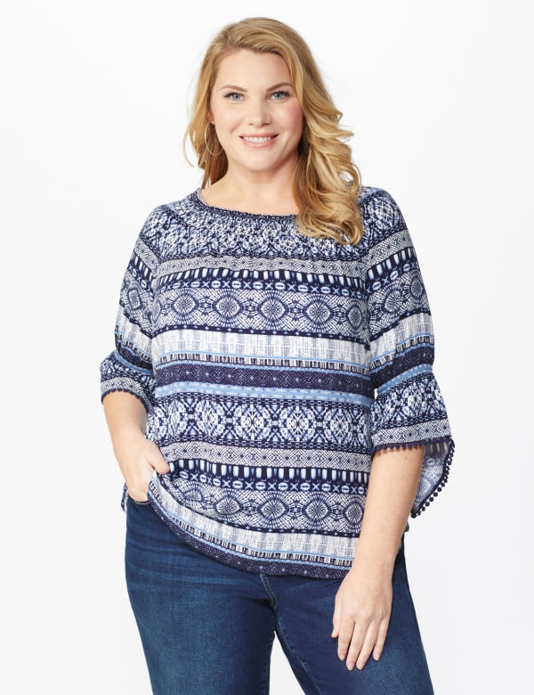 "Westport Denim Friendly ""On And Off The Shoulder"" Top - Plus - Blue - Front"