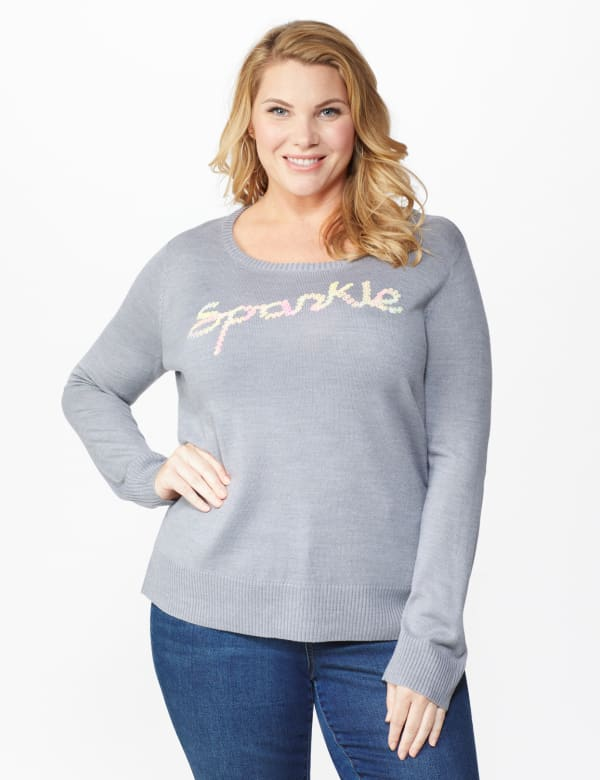 Roz & Ali Sparkle Pullover Sweater - Plus - Heather Grey - Front
