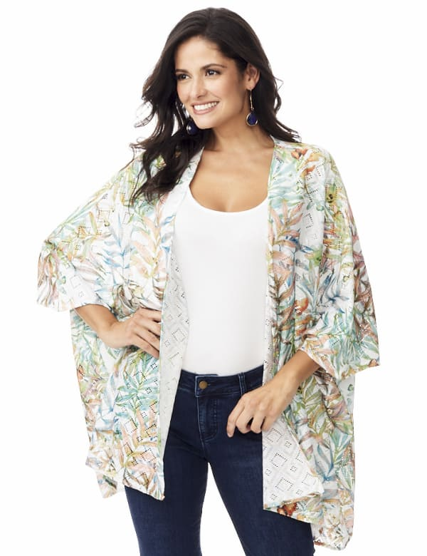 Palm Print Lace Kimono - Multi - Front