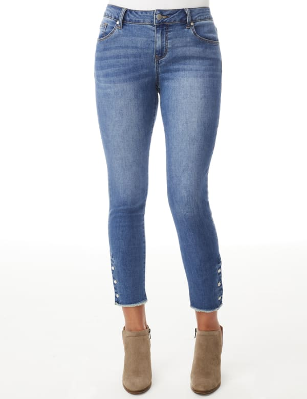 Westport Signature 5 Pocket Skinny Ankle Jean With Snap Button At Ankle - Medium Wash - Front