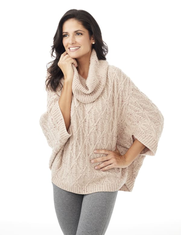 Westport Novelty Yarn Poncho Sweater - Misses - Pale Khaki - Front