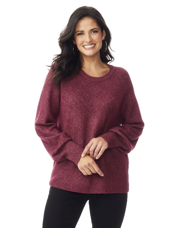 Westport Pointelle Sweater - Burgundy - Front