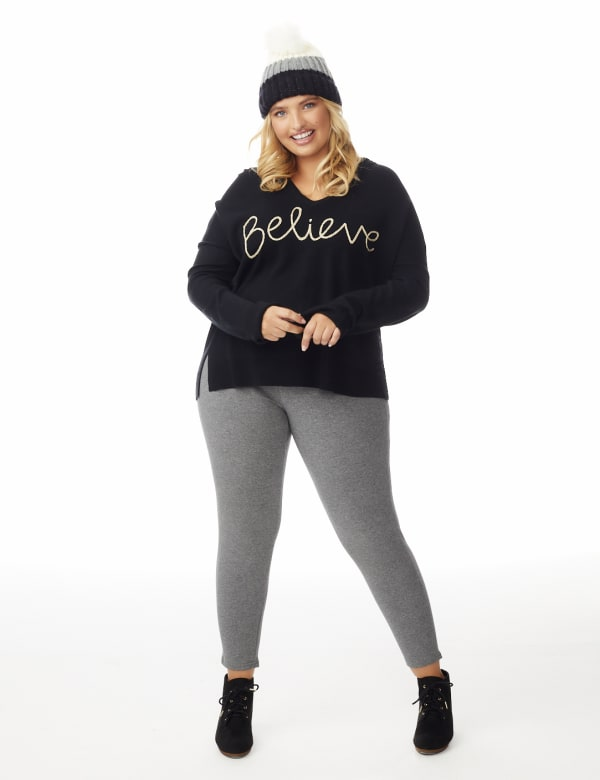 Roz & Ali Believe Hoodie Sweater - Plus - Black - Front