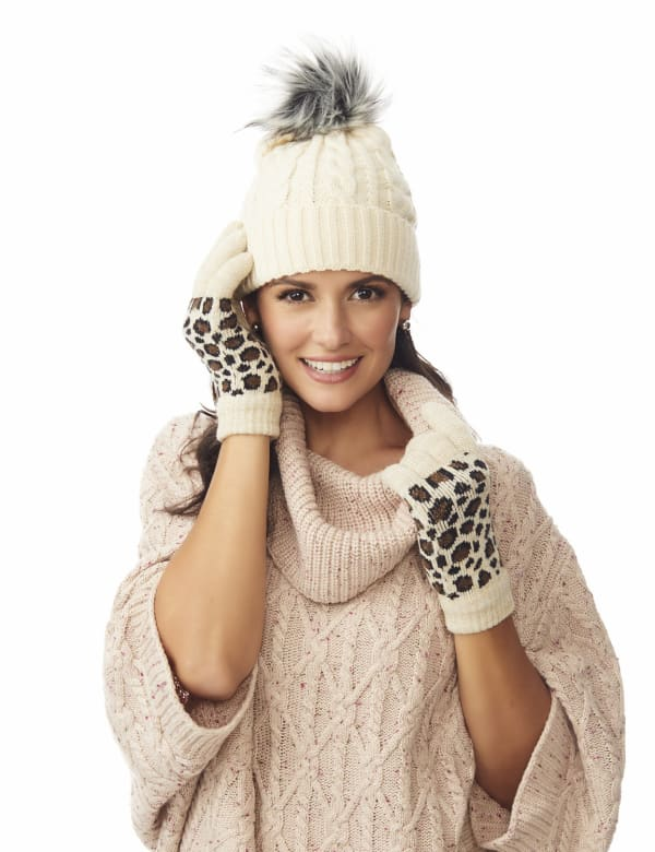 Leopard Jacquard Knit Touch Gloves - Brown Combo - Front