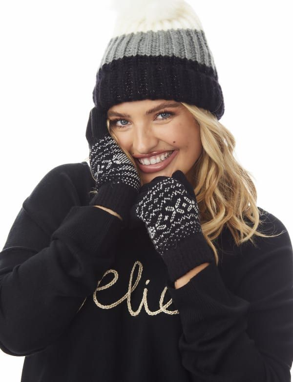 Snowflake Knit Touch Gloves - Black Combo - Front