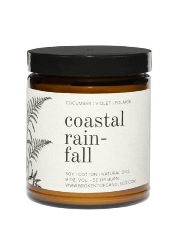 Coastal Rainfall- 9 oz. Soy Candle- Botanical Collection - Amber Glass - Front