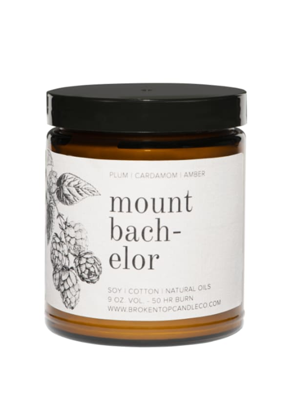 Mount Bachelor- 9 oz. Soy Candle- Botanical Collection - Amber Glass - Front