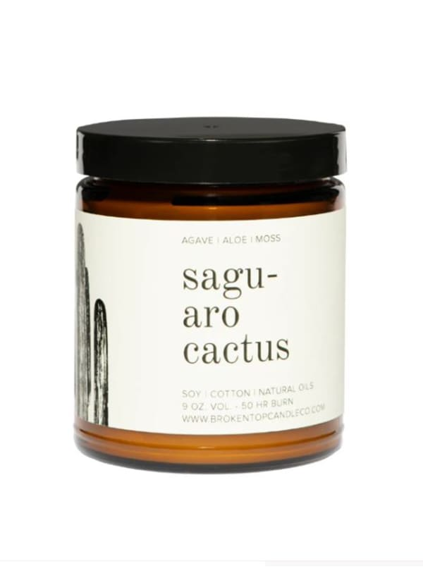 Saguaro Cactus- 9 oz. Soy Candle- Botanical Collection - Amber Glass - Front