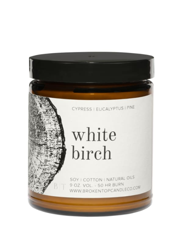White Birch- 9 oz. Soy Candle- Botanical Collection - Amber Glass - Front