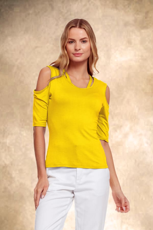 Cold Shoulder Strappy Tee - Yellow - Front