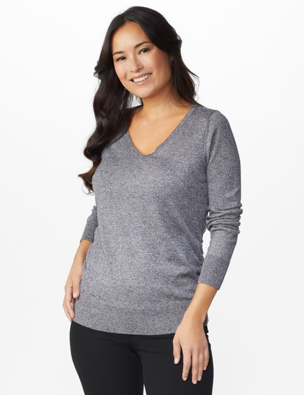 Roz & Ali Side Ruched Curved Hem Sweater - Black/White - Front