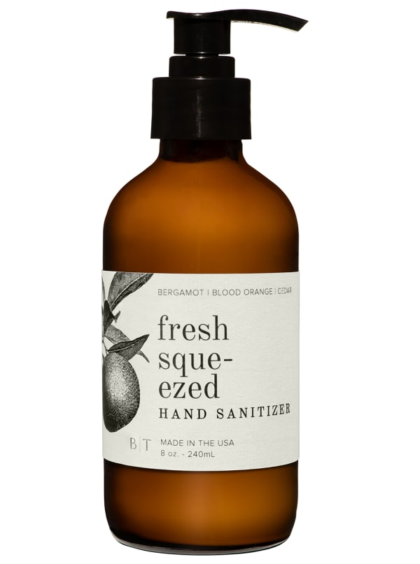 Fresh Squeezed- 8 oz. Hand Sanitizer- Botanical Collection (Ships with White Pump) - Amber Glass - Front