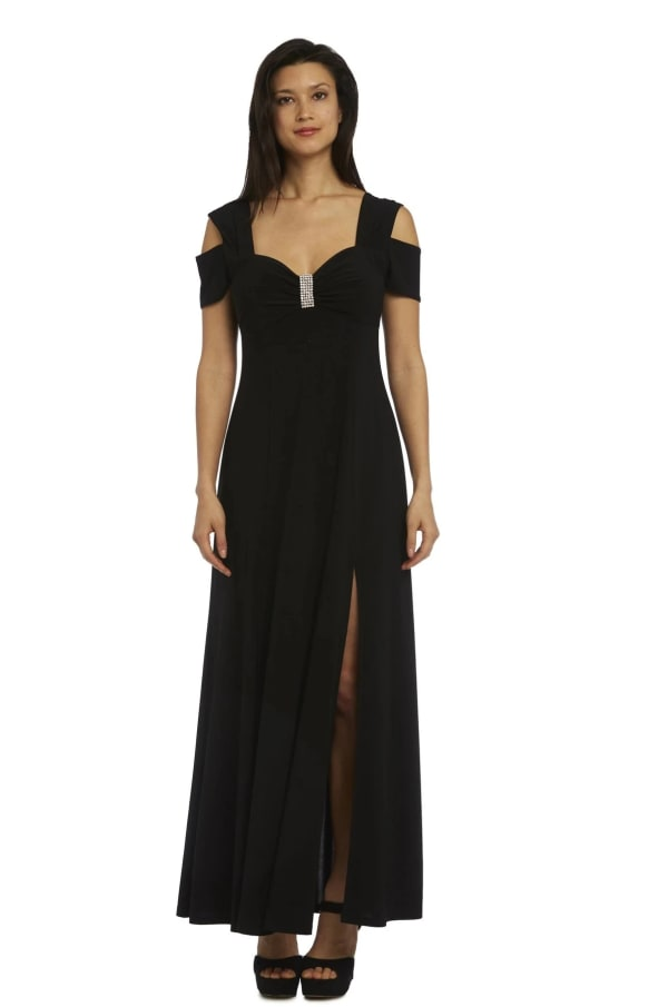 Evening Gown with Thigh Slit and Diamante Detail - Black - Front