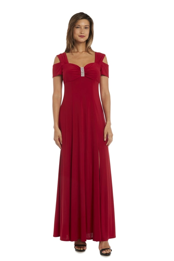 Evening Gown with Thigh Slit and Diamante Detail - Red - Front