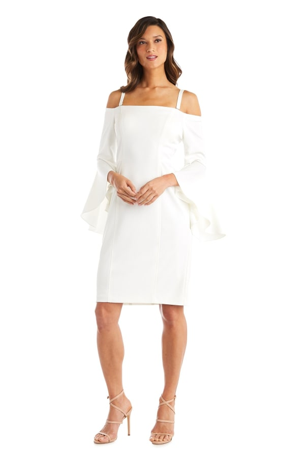 Off the Shoulder Cocktail Dress with Fluted Sleeves - Ivory - Front