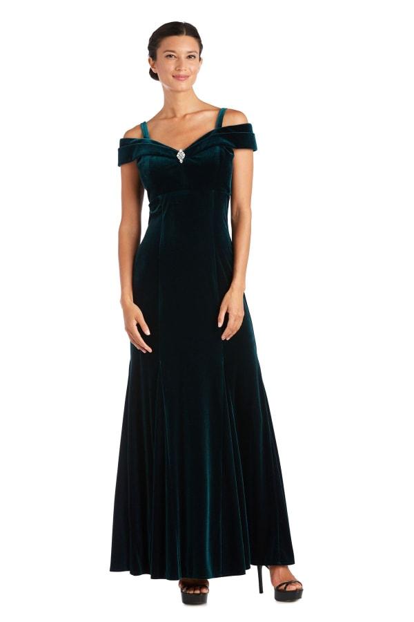Long Stretch Velvet Off the Shoulder Gown - Hunter Green - Front
