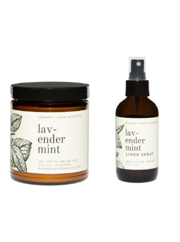 Lavender Mint Candle & Linen Spray Set - Amber Glass - Front