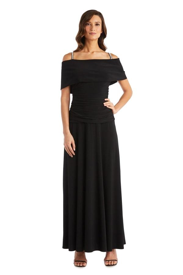 Banded Cold Shoulder Strap Detail Ruched Dress