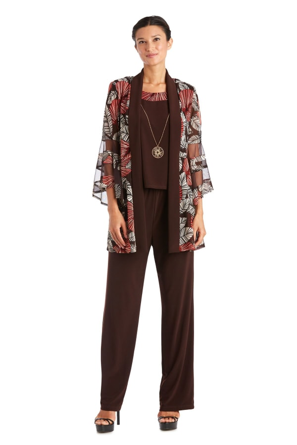 Two Piece Puff Print Pant Suit - Brown - Front